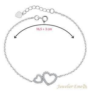Dubbele Hart hanger Armband Zilver - 19,5 CM - Juwelier Emo