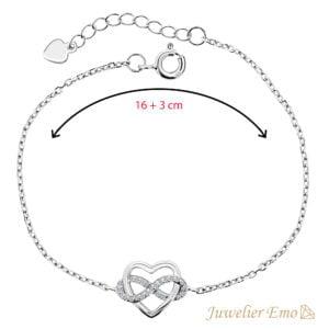 Hart & infinity Armband Zilver met Zirkonia's - Zilveren Armband met Hanger - 19 CM