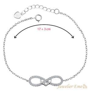 Infinity & Hart Armband met Zirkonia's - Zilveren Armband met hanger - 20 CM