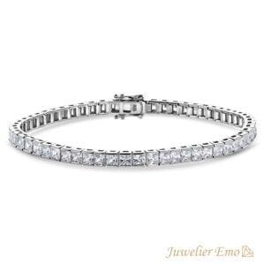 Priscilla's Favorites - Premium Tennis Armband Zilver 925 - Vierkante Zirkonia stenen 4 MM