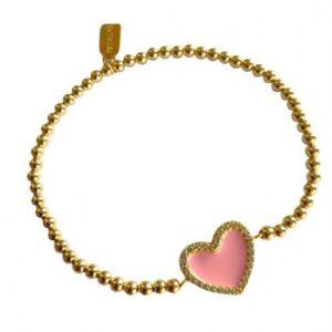PScallme - HEART CC COLOR PINK GOLD COLOURED - Sterling Zilver 925