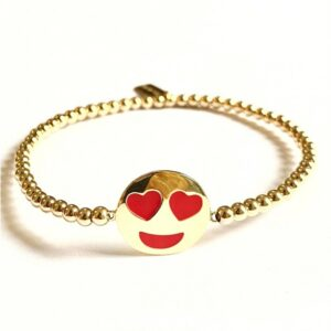 PScallme - SMILEY RED HEARTEYES GOLD COLOURED - Sterling Zilver 925
