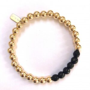 PScallme - CHANCE 6MM ONYX GOLD COLOURED - Sterling Zilver 925