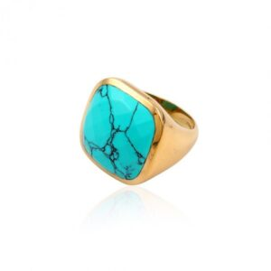 PScallme - RING STONE TURQUOISE GOLDPLATED - Sterling Zilver 925