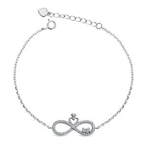 Infinity & Hart Armband Fantasie met Zirkonia's - Zilveren Armband - 19.5 CM