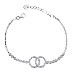 Fantasie armband met Zirkonia stenen – Zilveren Armband Dames – 19.5 CM