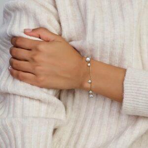 14 Karaat Gouden Anker schakel Armband met Parels - Lengte 19cm