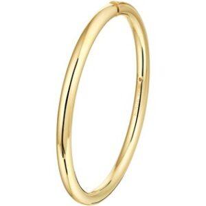 14 Karaat Gouden Bangle Scharnier Armband ovale buis - Zilveren kern - Breedte 5mm