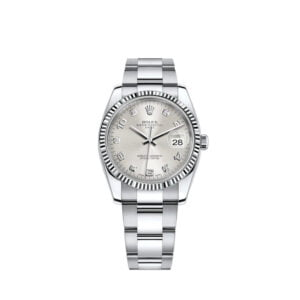 Rolex Date 34mm 115234 - Silver Diamond Dial - Oyster - PRE-OWNED 2009